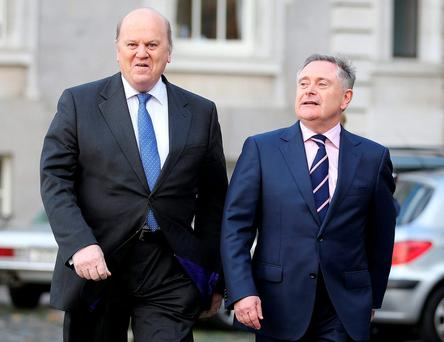 Minister for Finance Michael Noonan with Minister for Public Expenditure and Reform Brendan Howlin. Photo: Frank McGrath