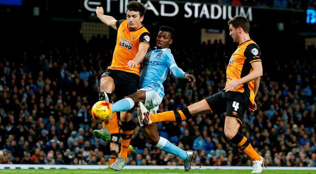 Kelechi Iheanacho scores Manchester City's second goal against Hull.
