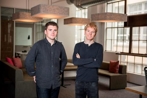 John and Patrick Collison, former students at Castletroy College in Limerick, sold their first company for €3.2m when they were 17 and 19, respectively. Photo: Dai-Lon Weiss