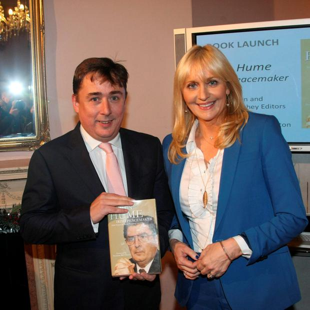 John Hume Junior and Miriam O'Callaghan at the launch of 'John Hume – Irish Peacemaker' at the Institute of International and European Affairs last night