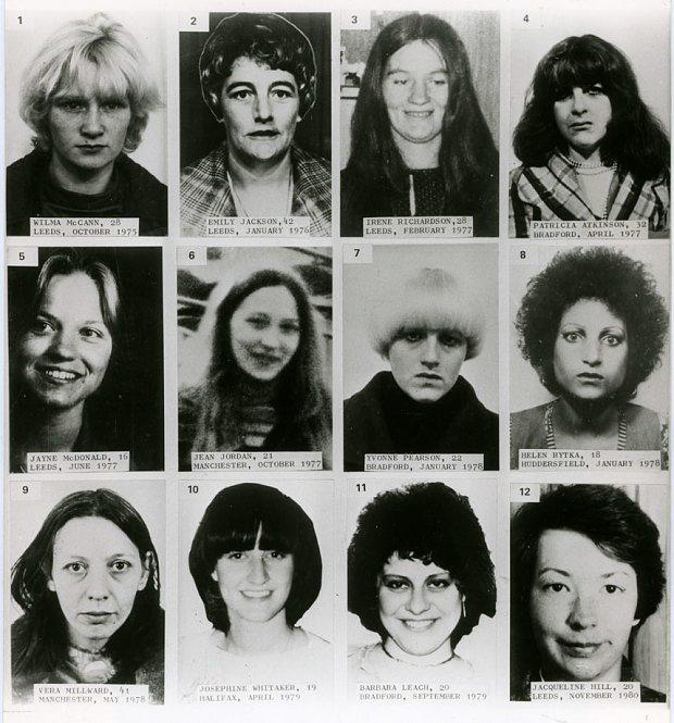 Twelve of Peter Sutcliffe's 13 victims Photo: PA
