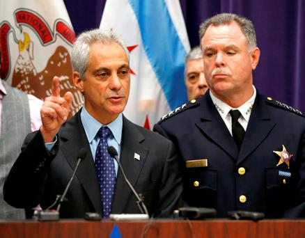 Chicago Mayor Rahm Emanuel, left, and Police Superintendent Garry McCarthy appear at a news conference