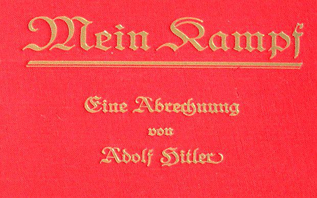 Detail from the cover of a rare copy of 'Mein Kampf' signed by the young Nazi leader Adolf Hitler