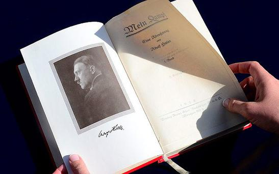 One of two rare copies of 'Mein Kampf' signed by the young Nazi leader Adolf Hitler and due for auction, photographed in Los Angeles