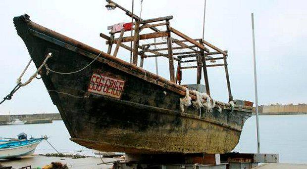 A ship that mysteriously washed ashore in Wajima, Ishikawa prefecture, central Japan in mid-November.