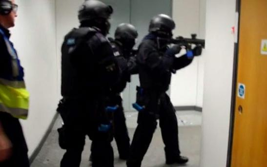 Police officers in the new training exercise