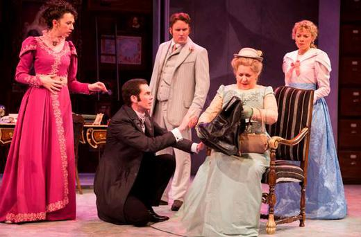 The Importance of Being Earnest, Gate Theatre. Lisa Dwyer Hogg, Marty Rea, Rory Nolan, Marion O'Dwyer and Lorna Quinn. PIC: Pat Redmond