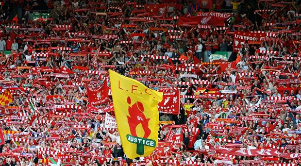 Liverpool fans in the KOP End