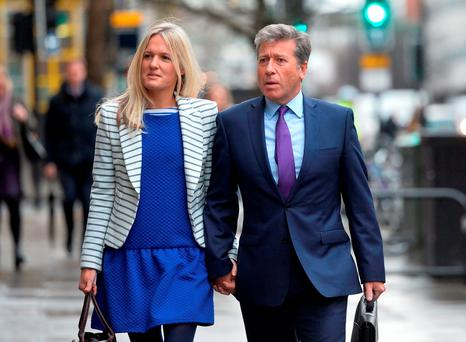 DJ Neil Fox arriving at Westminster Magistrates Court in London with his wife Vicky Fox