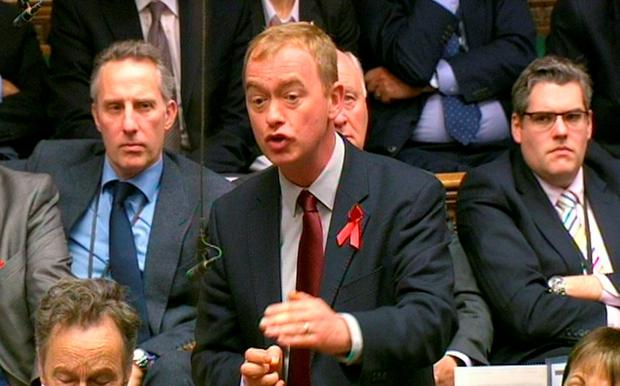 Liberal Democrat Party leader Tim Farron speaking during the debate in the House of Commons on extending the bombing campaign against Islamic State to Syria