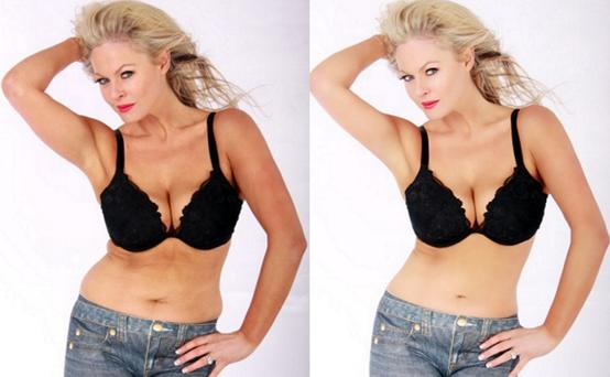 Amanda Brunker before and after airbrushing. Picture courtesy of Nadia Power.