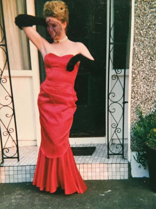 Amanda Brunker at her debs. She hated the picture so much afterwards she drew over her face with a pen.