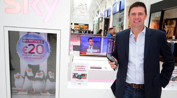 Niall Quinn was at Liffey Valley Shopping Centre to open Sky's new state-of-the-art flagship retail store. It is one of 36 Sky Retail Stores in Ireland which provides new and existing customers advice and demonstrations of Sky products at shopping centres nationwide. Photo taken on the 2nd December 2015 by Philip Leonard at Liffey Valley shopping Centre Dublin. NO REPRO FEE.