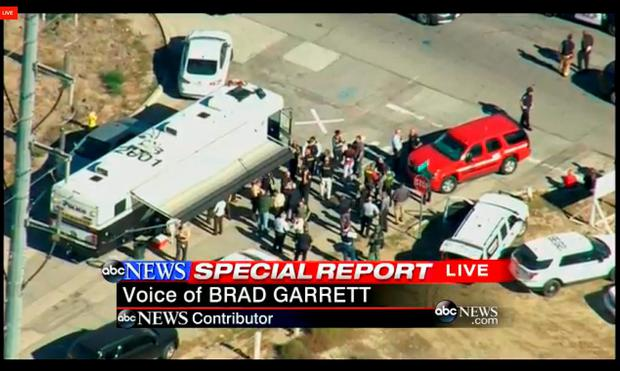 This still video image from a helicopter, courtesy of KABC TV in Los Angeles shows a shooting scene in San Bernardino, California