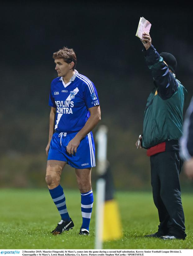 2 December 2015; Maurice Fitzgerald, St Mary's, comes into the game during a second half substitution. Kerrry Senior Football League Division 2, Gneeveguilla v St Mary's. Lewis Road, Killarney, Co. Kerry. Picture credit: Stephen McCarthy / SPORTSFILE