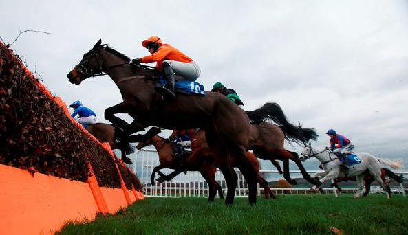 Big Smile ridden by Liam Heard in the Jenkinsons Catering Novices' Claiming Hurdle at Ludlow