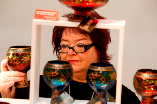 Shelia Hulme from Donegal, at her stand Karl Hulme Glass Art, at the opening day of the National Crafts and Design Fair in the RDS