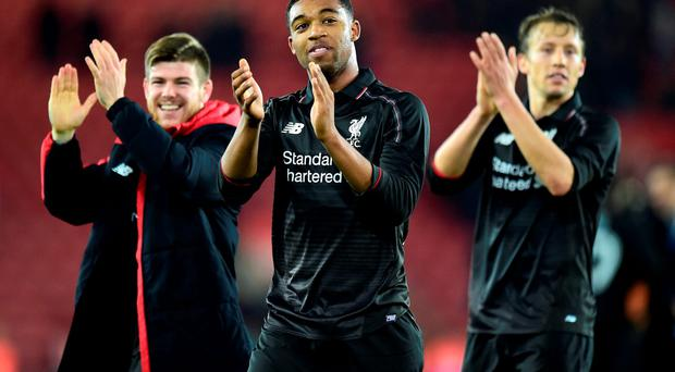Liverpool's Jordon Ibe celebrates after the final whistle during the Capital One Cup, Quarter Final at St Mary's, Southampton. PRESS ASSOCIATION Photo. Picture date: Wednesday December 2, 2015. See PA story SOCCER Southampton. Photo credit should read: Adam Davy/PA Wire. RESTRICTIONS: EDITORIAL USE ONLY No use with unauthorised audio, video, data, fixture lists, club/league logos or