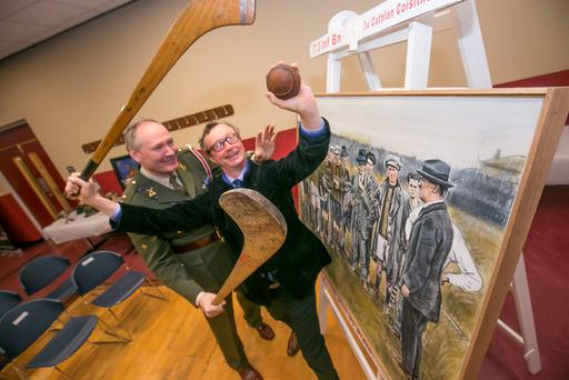 Artist Mick O'Dea and Lt Col Stephen Ryan at James Stephen's Barracks during the unveiling of a painting of Michael Collins