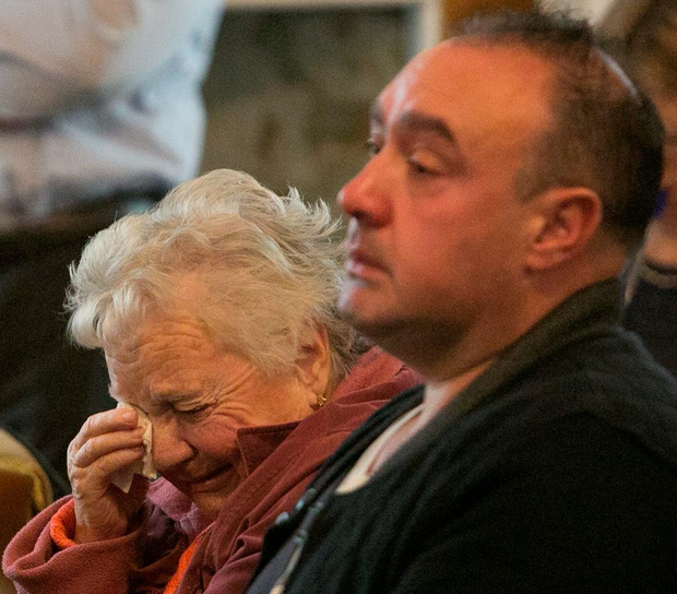 Lena and Anthony Clarke, grandmother and uncle of missing Elizabeth Clarke at the event in Farmleight House yesterday