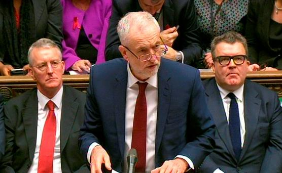 Labour Party leader Jeremy Corbyn speaking during the debate in the House of Commons on extending the bombing campaign against Islamic State to Syria. Photo: PA