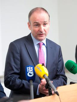 17/11/2015 Fianna Fail leader Micheal Martin TD respond to the revelation that the Government is set to abandon its Universal Health Insurance policy. at Leinster House, Dublin Photo: Gareth Chaney Collins