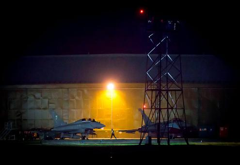 Two Eurofighter Typhoon jets at from RAF Lossiemouth in Scotland, as RAF Tornado jets have carried out the first British bombing runs over Syria, the Ministry of Defence has confirmed. Danny Lawson/PA Wire