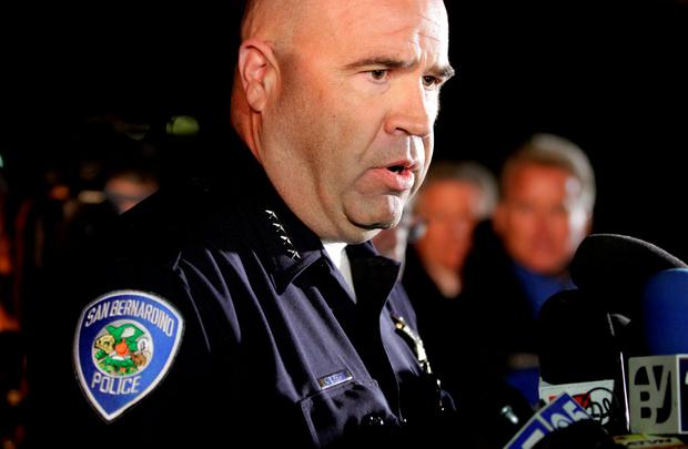 San Bernardino Police Chief Jarrod Burguan (C) speaks at a news conferenece, informing the media, that the couple Syed Rizwan Farook, 28, and Tashfeen Malik, 27, were responsible for the shooting rampage REUTERS/Alex Gallardo