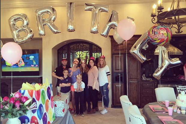 Britney Spears celebrates her birthday under the balloons sent to her by Miley Cyrus. Instagram