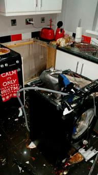 The scene after the washing machine exploded. Pic: BBC Stephen Nolan Show @BBCNolan