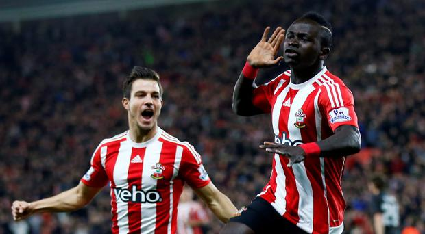 Sadio Mane celebrates after scoring the first goal for Southampton