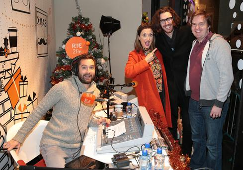 Singer Hozier with Jennifer Maguire ,Bernard O Shea and Keith Walsh of 2fm's Breakfast Republic when he dropped into 2fm's Xmas Appeal for ISPCC in Stephens Green Dublin. Photo: Brian McEvoy