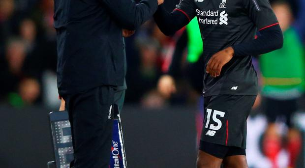 Jurgen Klopp congratulates Daniel Sturridge after his two-goal display against Southampton