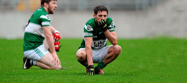 Craig Rogers shows his disappointment after Portlaoise had been beaten by St Vincent's in the 2013 Leinster Club SFC final in O'Connor Park, Tullamore