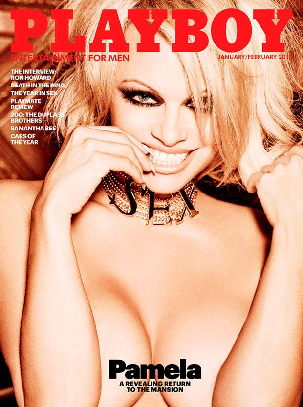 Playboy magazine's January/February 2016 edition cover featuring Pamela Anderson is shown in this handout photo provided by Playboy Enterprises, Inc, in Los Angeles