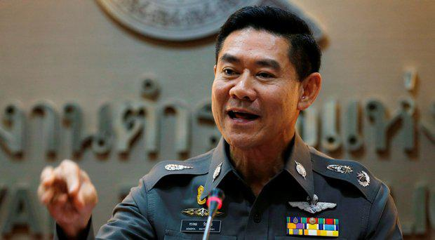 Thailand's deputy police spokesman Songpol Wattanachai gestures during a news conference at the Royal Thai Police headquarters in Bangkok, Thailand, December 4, 2015