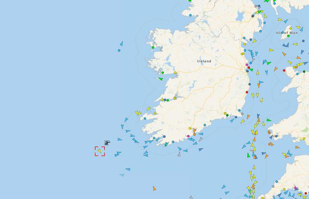 The vessel is marked off the southwest coast of Ireland with the helicopter located nearby (Photo: Vesselfinder)