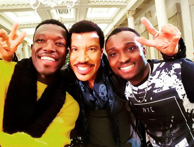 Reggie n Bollie with Lionel Richie who is mentoring the acts ahead of their semi-final performances. PIC: Reggie n Bollie Twitter