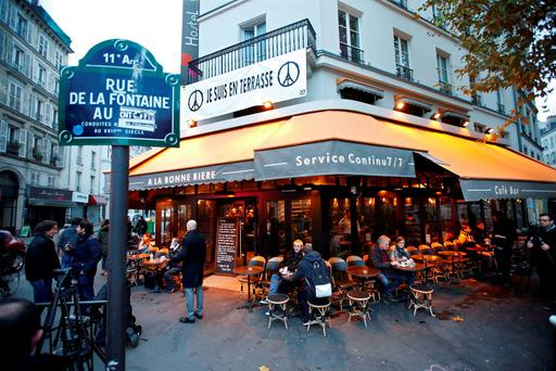 La Bonne Biere cafe in Paris as it re-opens for business three weeks after 130 people were killed in the French capital Credit: Charles Platiau (REUTERS)