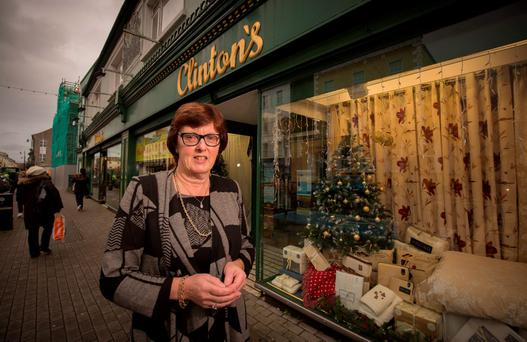 Slight upturn: Mary Clinton Costello outside her Clonmel department store. Photo: Dylan Vaughan.