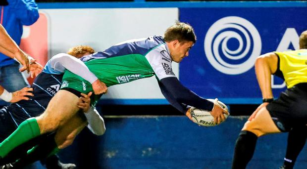 Ian Porter goes over for a Connacht try during last night's defeat to Cardiff