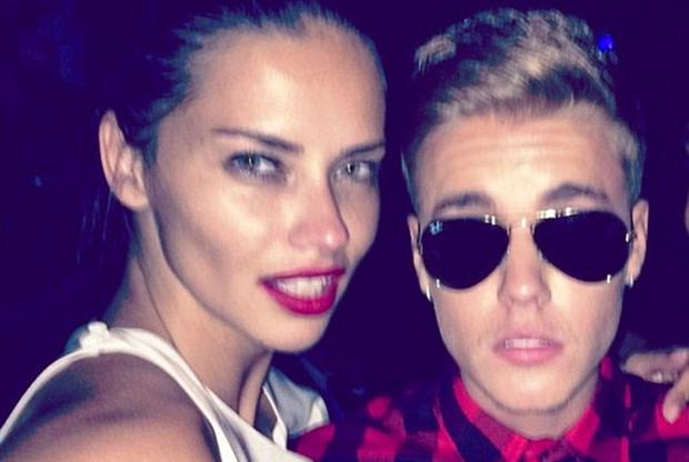 Adriana Lima and Justin Bieber in 2014