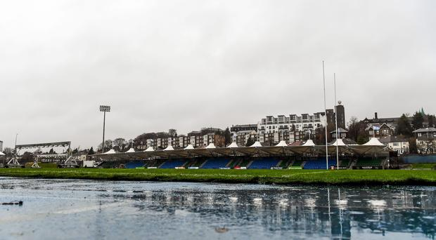 A general view of Scotstoun Stadium following the cancellation of the game.