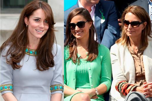 Kate Middleton (left) and her sister Pippa and mother Carole (right)
