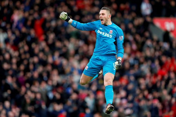 Jack Butland celebrates after Marko Arnautovic scores for Stoke City
