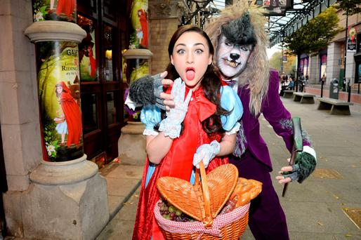 He's bend you: Hayley-Jo Murphy as Little Red Riding Hood and Nicholas Grennell as The Big Bad Wolf