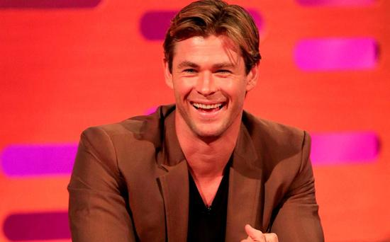 Chris Hemsworth during filming of the Graham Norton Show at The London Studios, south London on BBC One
