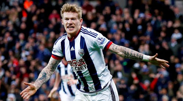 James McClean celebrates scoring the first goal for West Brom