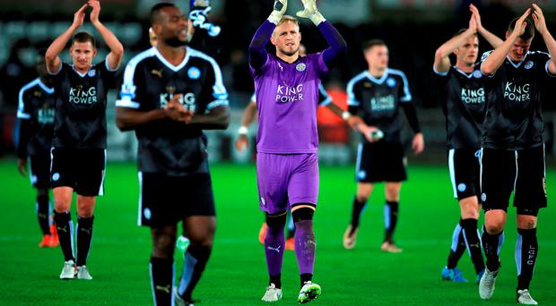 Leicester City applaud the fans after the Barclays Premier League match at the Liberty Stadium, Swansea