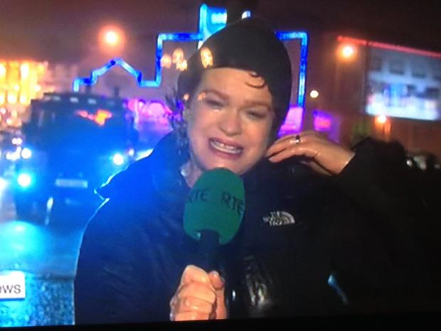 Teresa Mannion reporting from Galway during Storm Desmond